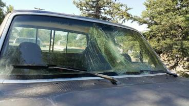 A jackrabbit hit this windshield. Thumbnail
