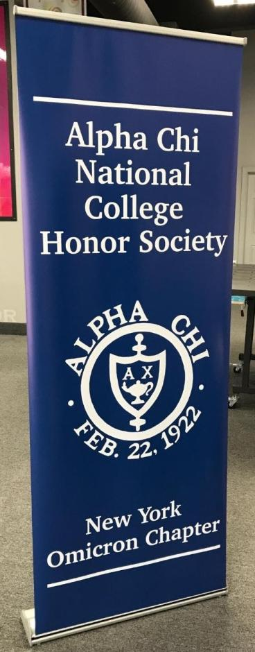 Banner stand for Alpha Chi National College Honor Society