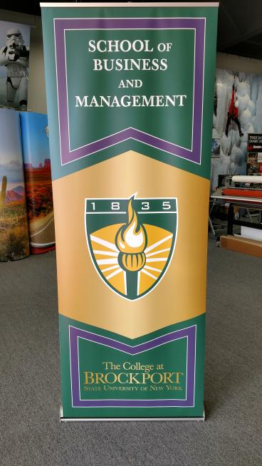 Banner stand for the College at Brockport