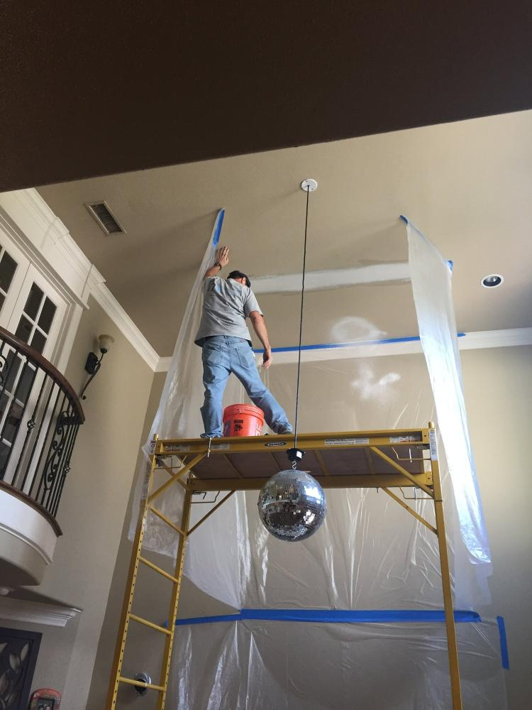Interior sheetrock repair, even on hard to reach high ceilings!