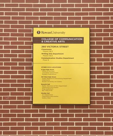 Rowan College of Communications and Creative Arts Directory Sign