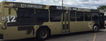 RTD bus for CU Boulder wrapped by speedprodenver.net