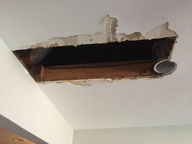 ceiling sheetrock repair- before