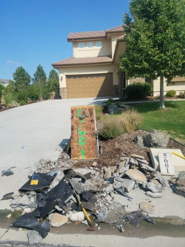 Driveway column repair in Parker CO-Before Picture