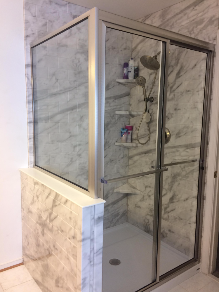 Re-Bath turned angled shower into a shower with a knee wall in Richmond, VA