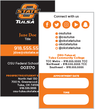 OSU Tulsa Vertical Business Card
