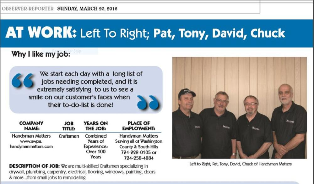 Handyman Matters Craftsmen were Featured in the Observer Reporter