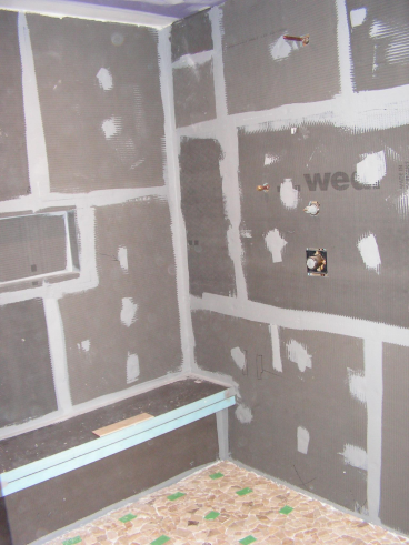 Wedi shower installation in complete bath remodel - Claysville, PA (during photo) 6
