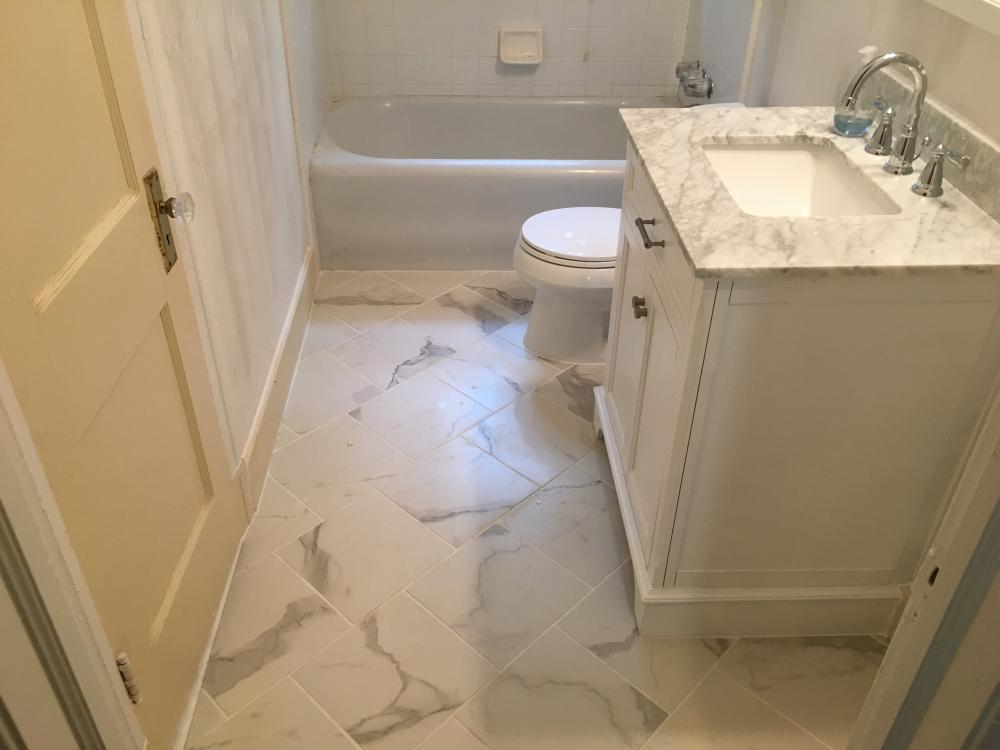 Tile floor install