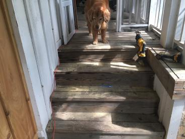 Before- customer requested that we build a removable dog ramp