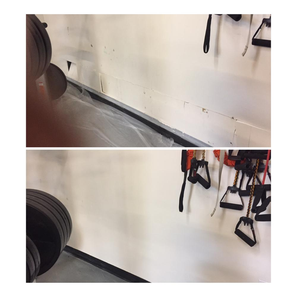 Sheetrock repair before & after