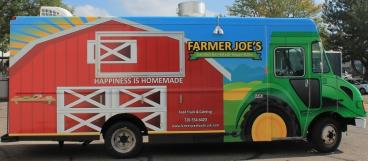 Food truck vehicle wrap full view for Farmer Joes printed and installed by www.speedprodenver.net