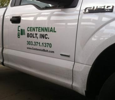 Truck decal for Bolt Inc. Centennial Colo. printed and installed by www.speedprodenver.net