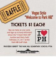 Fundraising raffle ticket poster for Park Hill Elementary printed by www.speedprodenver.net