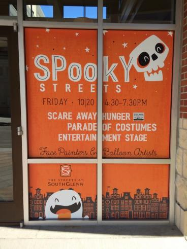 Southglenn mall promotes Spooky Streets with window clings printed and installed by Food truck vehic