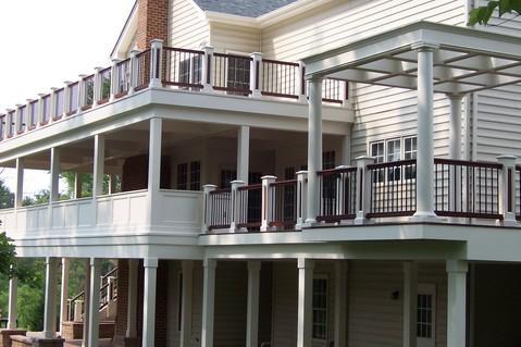Multiple level deck with pergola