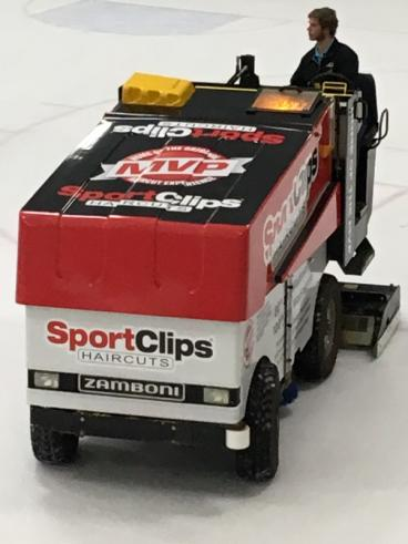 SpeedPro Denver wrapped this Zamboni for Apex Parks and Rec sponsor Great Clips