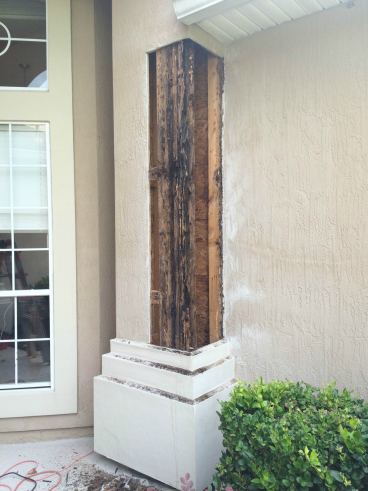 Wood Rot Column Repair Before in World Golf Village - St Augustine
