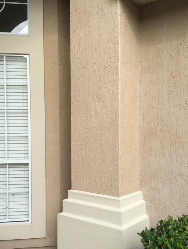 Wood Rot Column Repair After with Stucco and Paint in World Golf Village - St Augustine