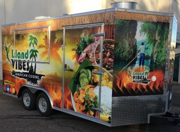 SpeedPro Denver wrapped this trailer for Island Vibes Jamaican Cuisne
