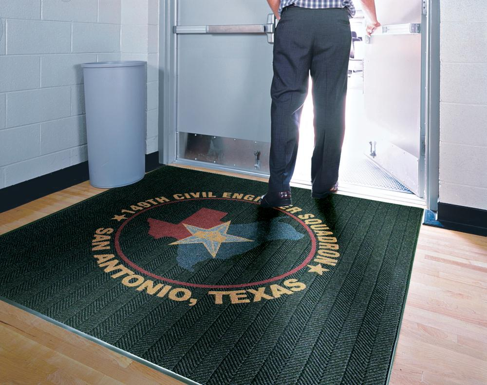 Floor mat with logo