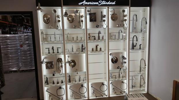 American Standard plumbing fixture wall display after