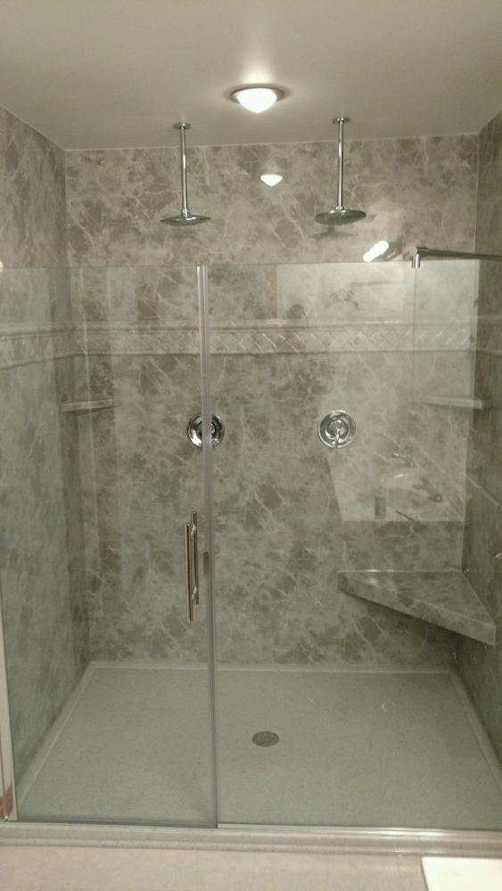 This beautiful new Re-Bath shower base and walls is much more functional than the old whirlpool tub.  Not only does it look beautiful, but it is safe and convenient to use as well.