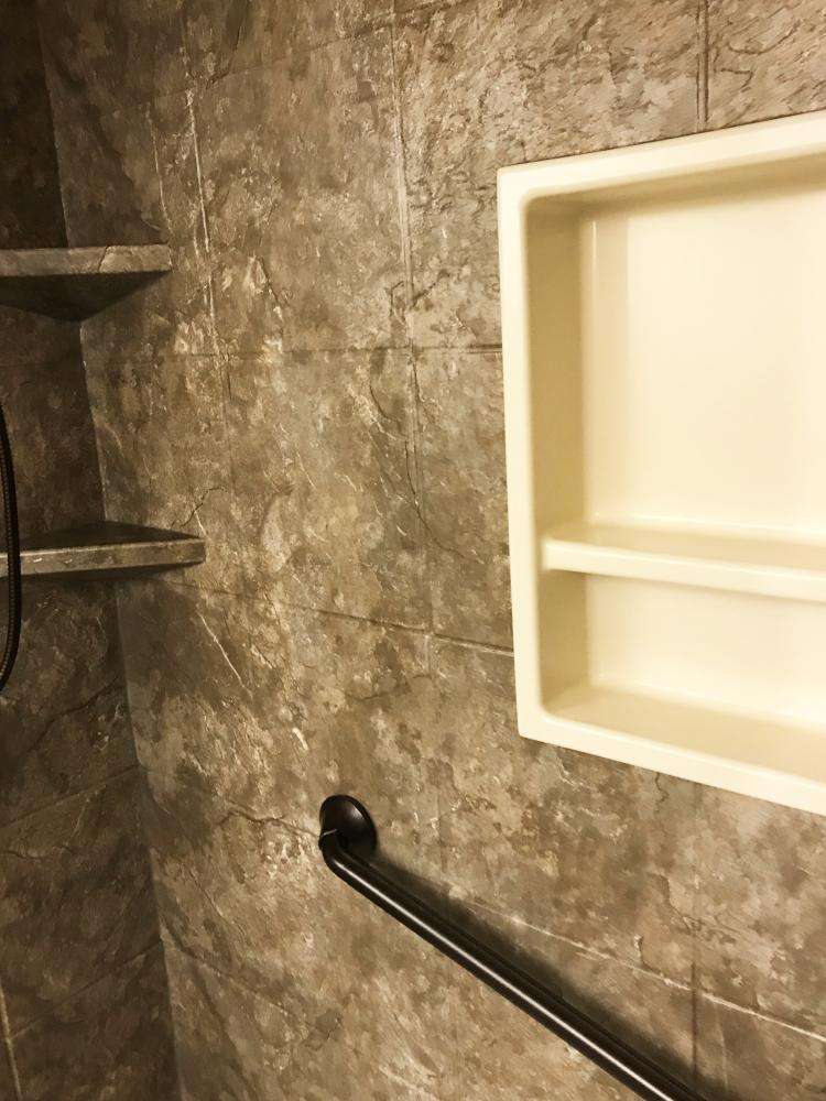 This shower is in our ever-popular Desert Stone Durabath SSP, but in a 12x12