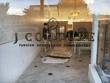 J Couture window lettering