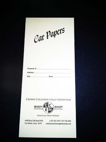 Pouches for collision centers, auto dealers, insurance, tire stores