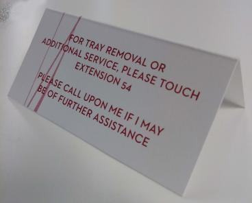 Hotel tray removal card