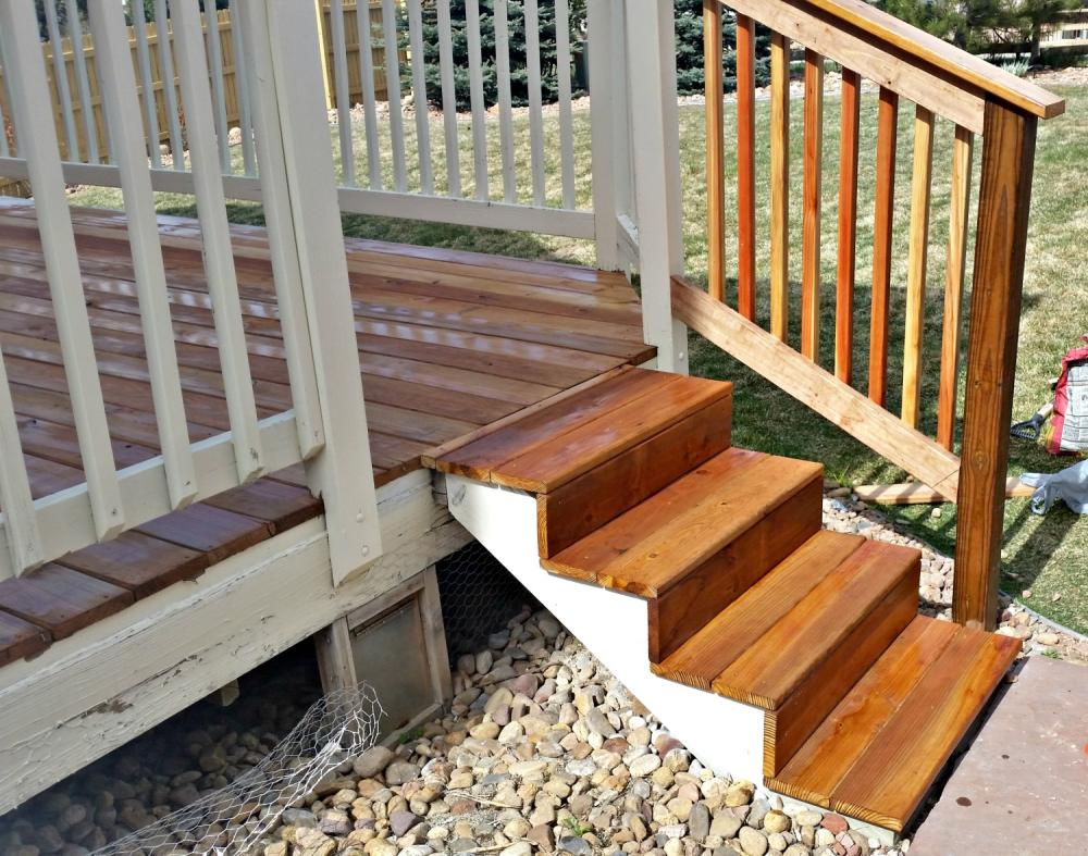 Detailed view of stairs to Deck rebuild in Foxfield CO 80016