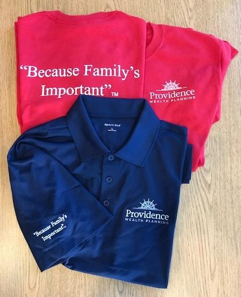 Custom shirts for Providence Wealth, Corona, Ca.