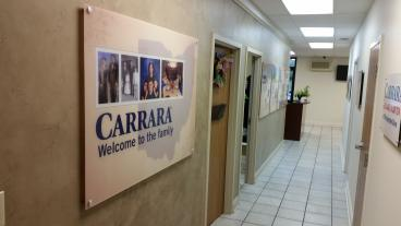 Beginning of Acrylic Panels Describing Carrara's Incredible History and Growth Timeline