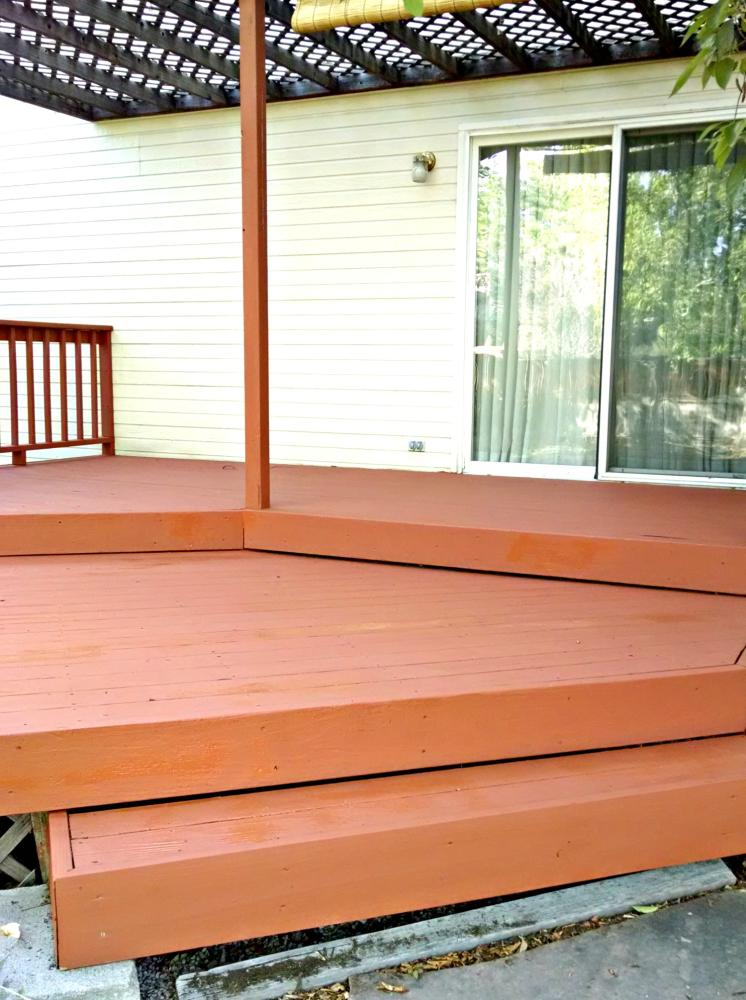 Repaired deck freshly stained in Golden CO 80401
