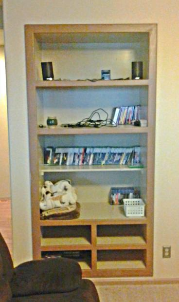 Living room shelving expansion in Sedalia CO 80135