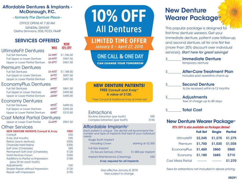 08291 McDonough - 10% Off All Dentures - offer ends 4/27/18