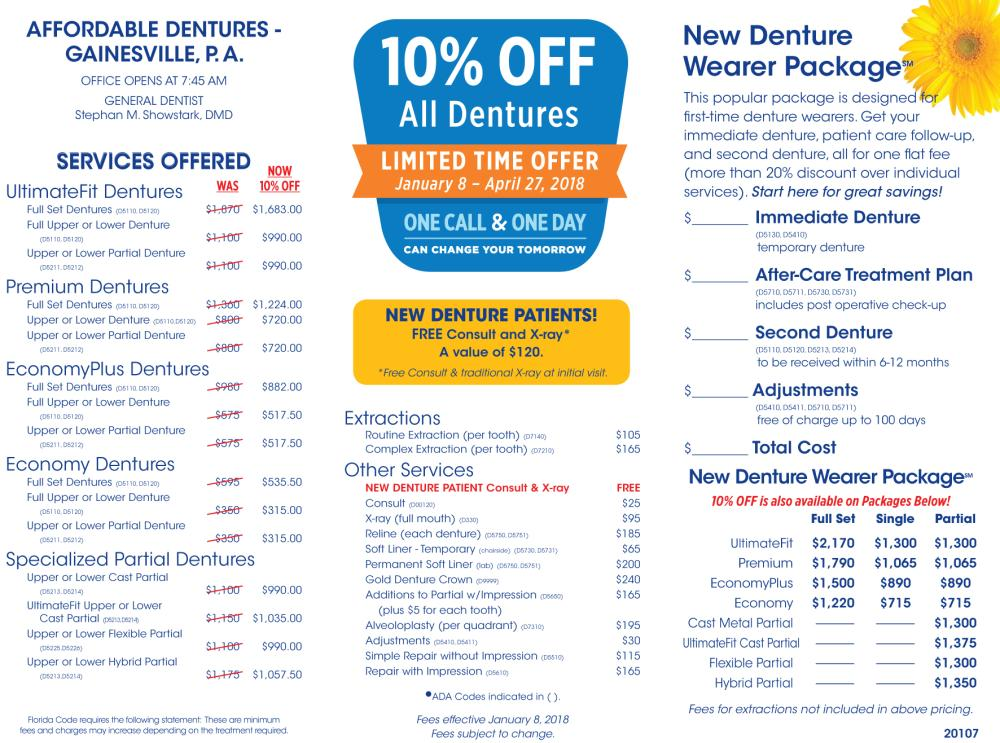 20107 Gainesville - 10% Off All Dentures - offer ends 4/27/18
