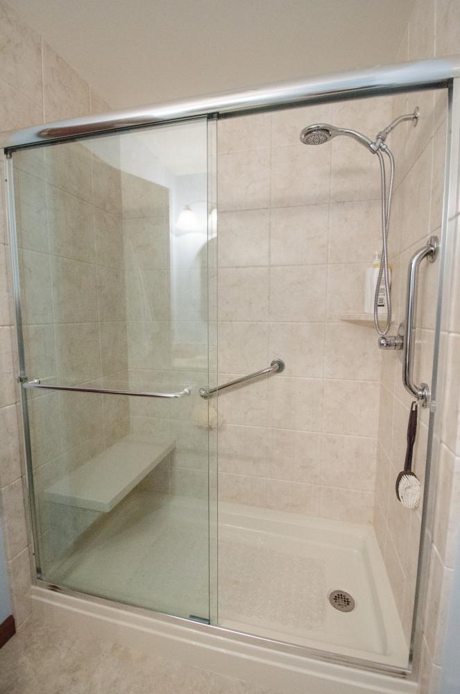 walk-in shower, handicap accessible shower, ADA compliant, bathroom remodel, raleigh bathroom remodel, north carolina bathroom remodel, Durabath, shower surround, grab bars