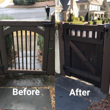 Custom built cypress wood gate
