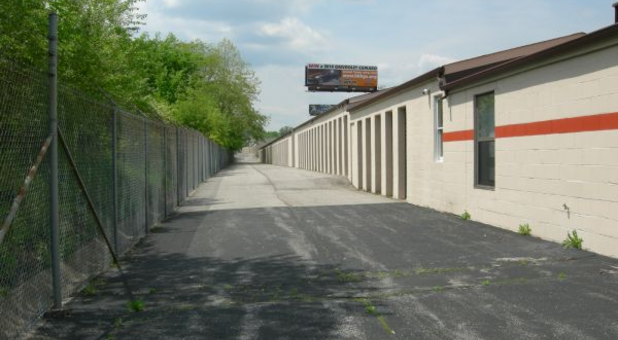 Storage facility features wide driveways for plenty of room to load and unload