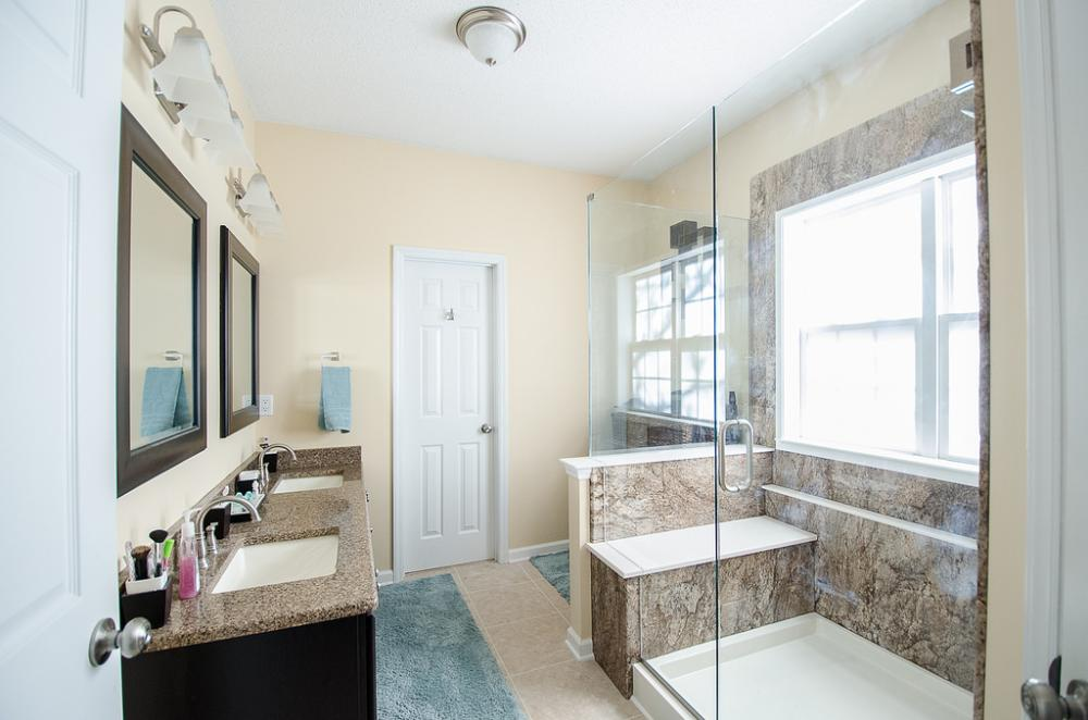complete bathroom remodel, walk-in shower, raleigh bathroom remodel, chapel hill bathroom remodel, durham bathroom remodel, shower seat, all glass walk in shower, ada compliant bathroom, master bathroom remodel,
