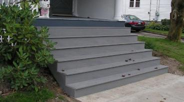 Installation of trex stairs on porch in Canonsburg, PA