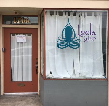 Leela Yoga window graphics