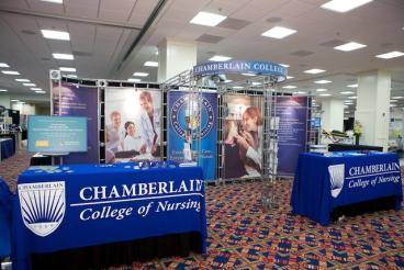 Trade Show Booth with Table Throws - Chamberlain College of Nursing - Downers Grove