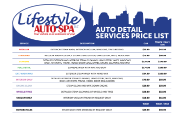 Lifestyle Auto Spa Services Sign