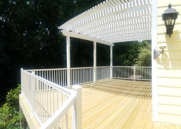 aluminium pergola and handrails with deck