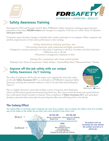 FDRsafety Safety Awareness Training Flyer