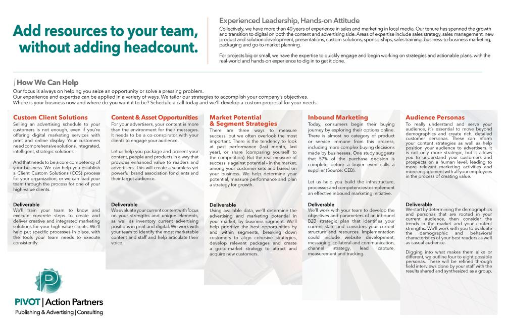 Pivot Action Partners Gatefold Brochure (Inside)
