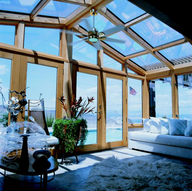 Cathedral Glass Designed Sunroom with Oak Wood Framing